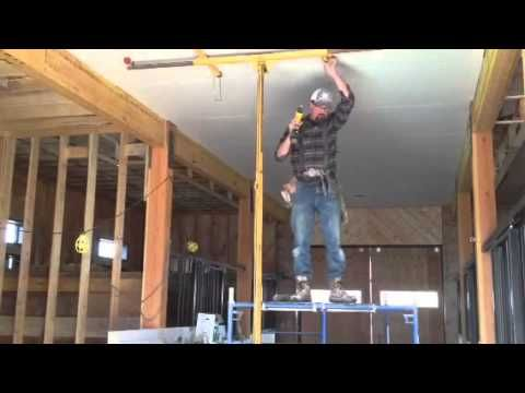 How I Hang Sheetrock Drywall On The Ceiling By Myself Or Yourself Diy Youtube Sheetrock Ceiling Maine House Installation