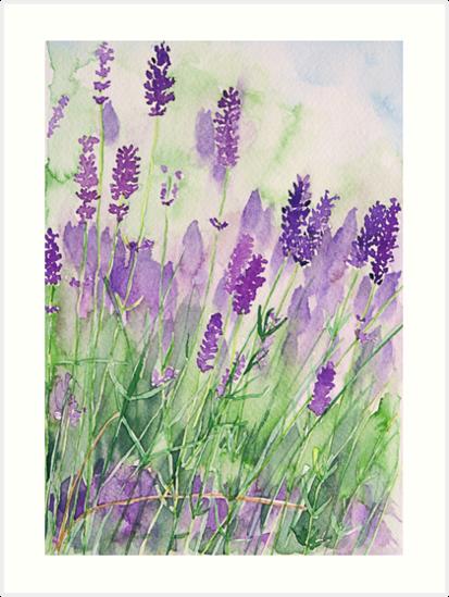 'Parfum de la Provence' Art Print by AndreaFettweis #easywatercolorpaintings