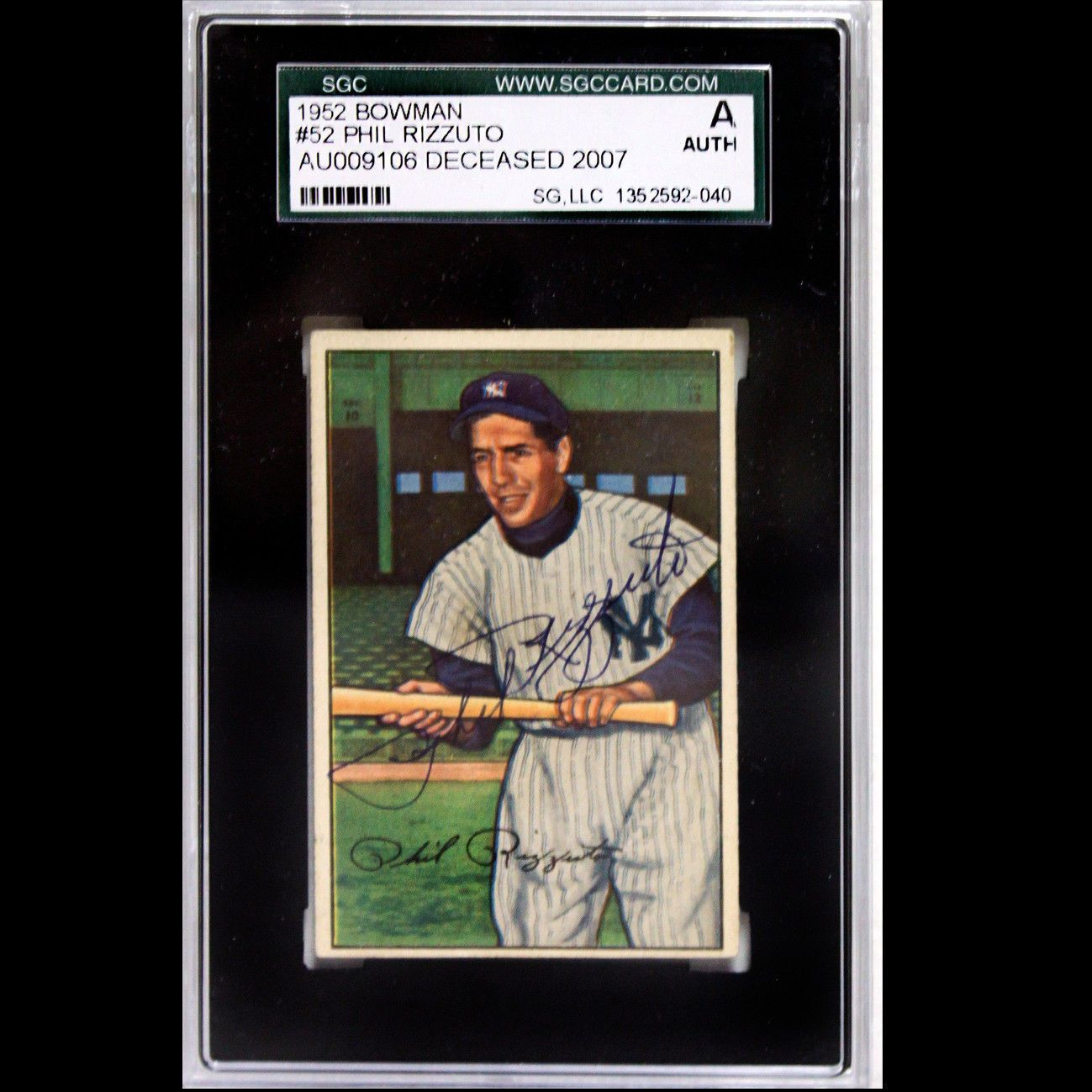 1952 Bowman 52 Phil Rizzuto Psadna Signed Autographed Auto 1352592 040 Phil Rizzuto Baseball Cards Baseball Signs