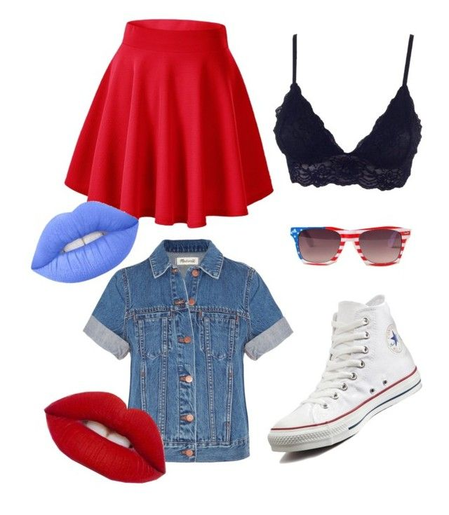"""FOURTH OF JULY"" by micaylarowan on Polyvore featuring Converse, Madewell, Lime Crime, Summer and independenceday"