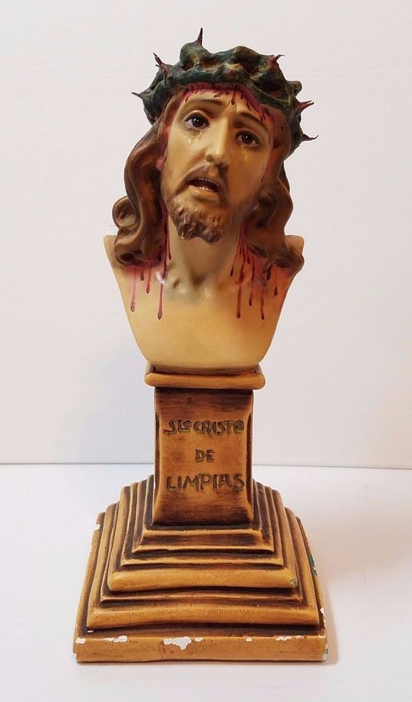 Vtg Antique Chalkware Chippy Chalk Ware Jesus Christ Crown ...