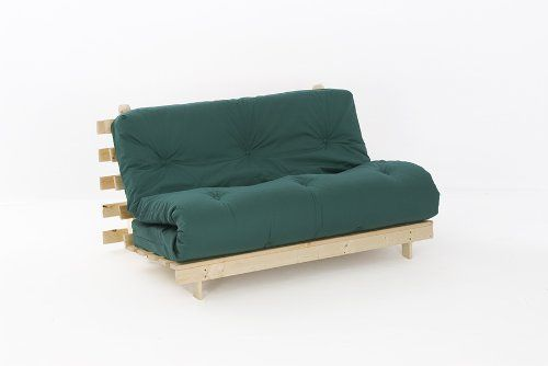 4ft6 Luxury Double 135cm Wooden Futon Set With Premium Glade Green Mattress Comfy