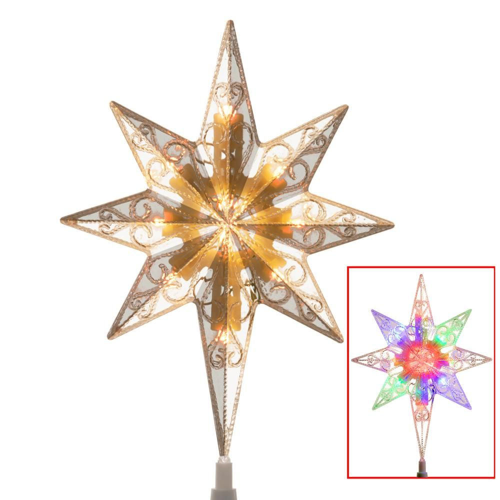 tree top star for artificial trees with dual color lights clear