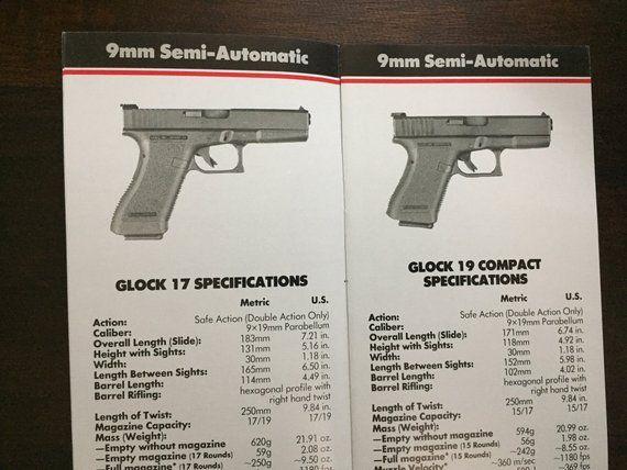 Vintage Glock 17 19 20 21 Pistol Specifications CATALOG 9mm