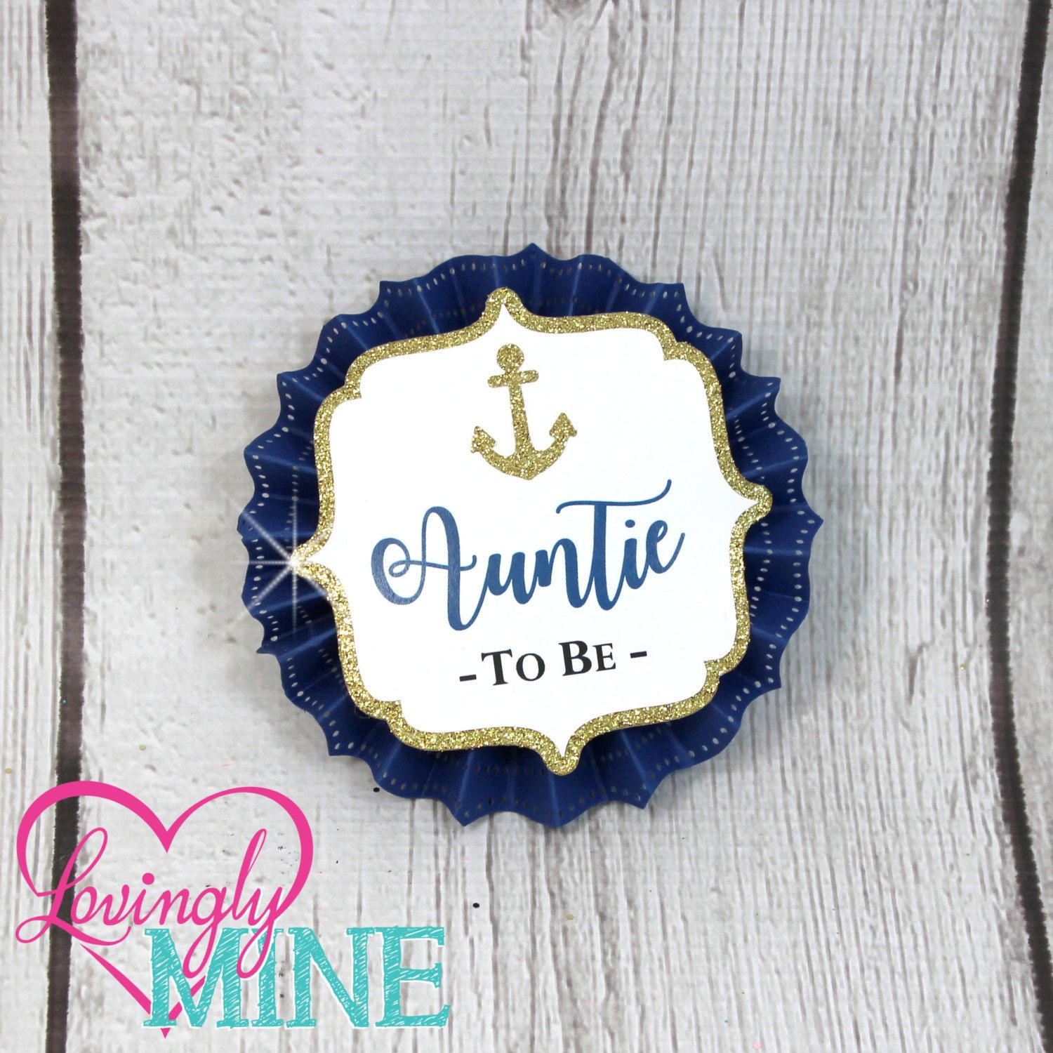 Name Tags Corsages Navy Blue White & Glitter Gold Nautical Baby