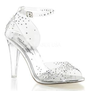 a77e60a7949 Clear Glass Slippers Cinderella Bridal Wedding Prom Heels Shoes size ...