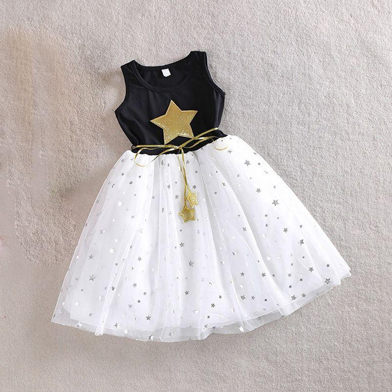 3-10Y Bebé Niñas Vestido de Lentejuelas Estrella Impreso con La Correa Sin Mangas de Partido de La Princesa Vestidos Para Niños