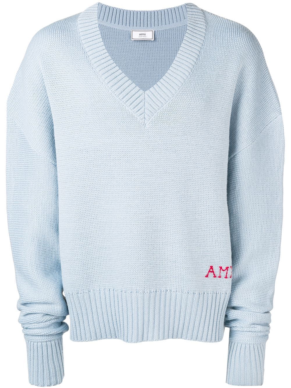 Ami Embroidery Oversize Sweater In 459 Bleu Cl Sweaters Oversized Sweaters Oversized Pullover