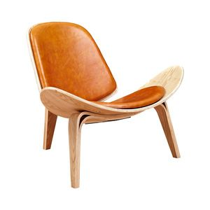 Wings Chair in Natural and Leather in Burnt Orange