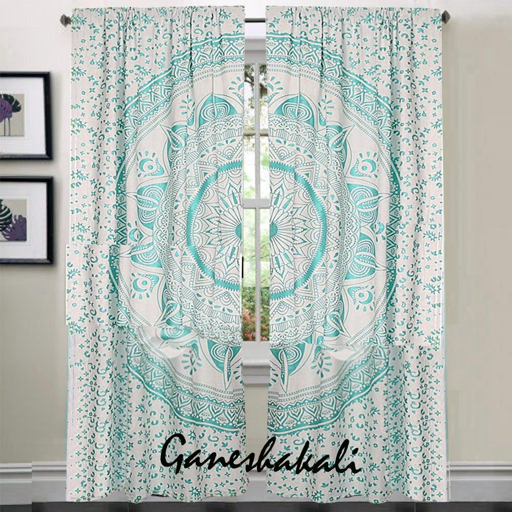 Details about Mandala Bedroom Window Curtains Indian Drape