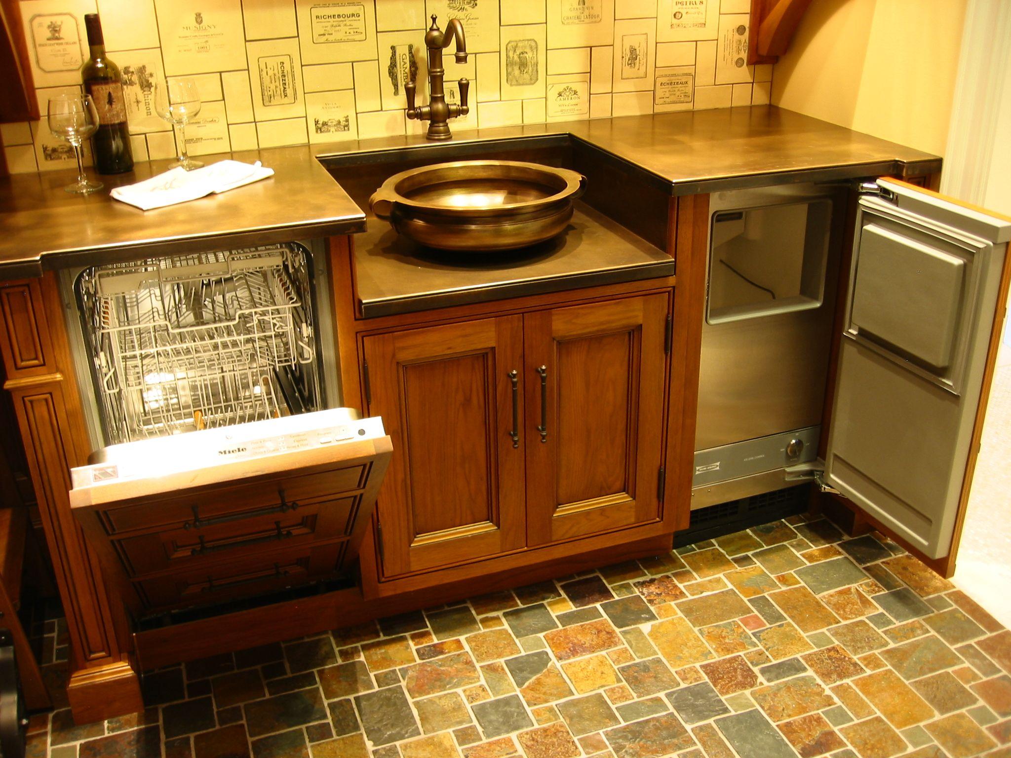 Wet Bar copper sink miele dishwasher plate bronze