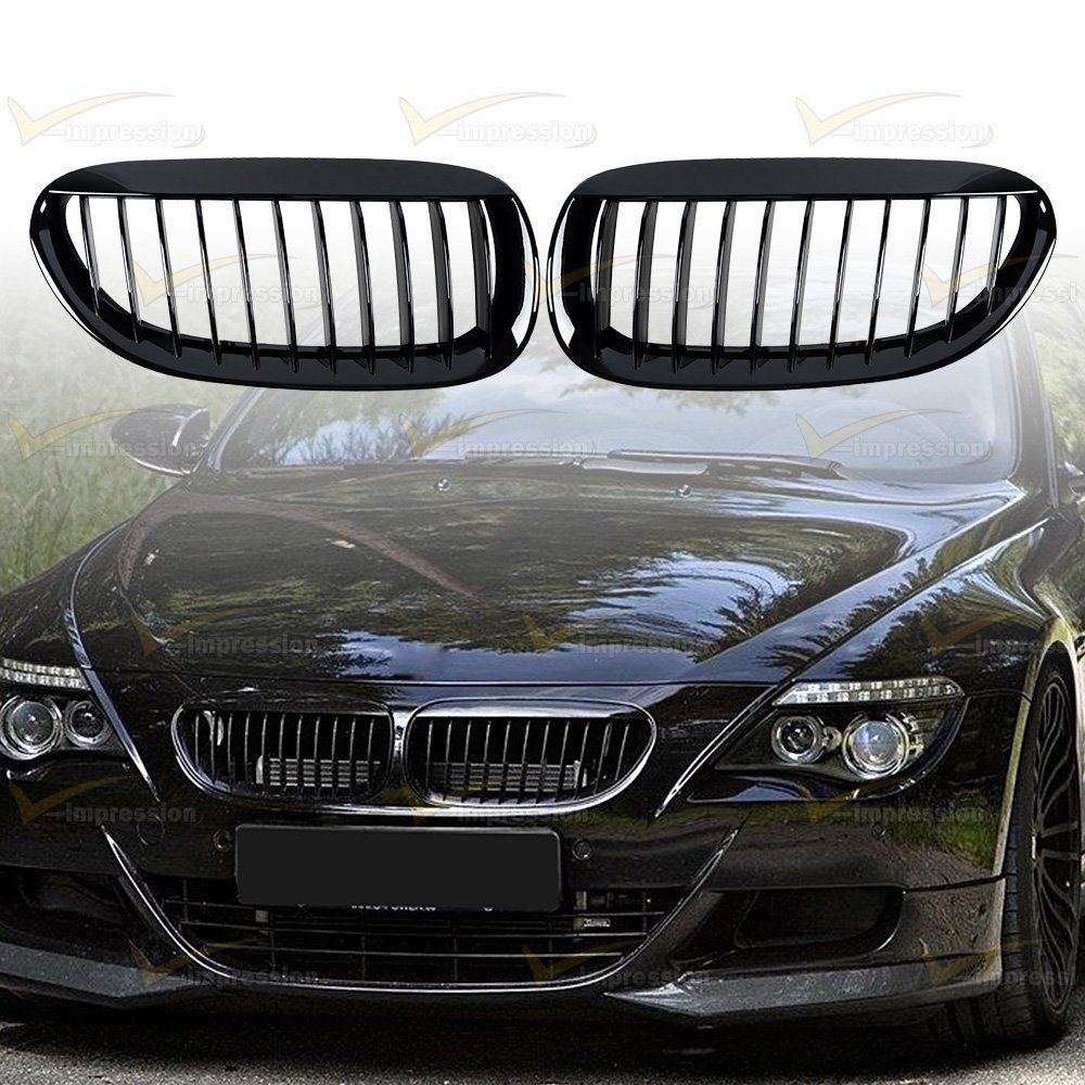 Gloss black front grille for bmw 04 10 e63 e64 650i 645ci m6 coupe convertible