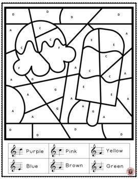 Free Music Activity Music Coloring Page For Summer One Color By Treble Notes Music Coloring Sheet Maths Colouring Sheets Music Coloring Sheets Music Coloring
