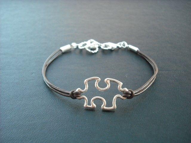 Silver puzzle piece bracelet | My Style | Pinterest | Puzzle pieces ...