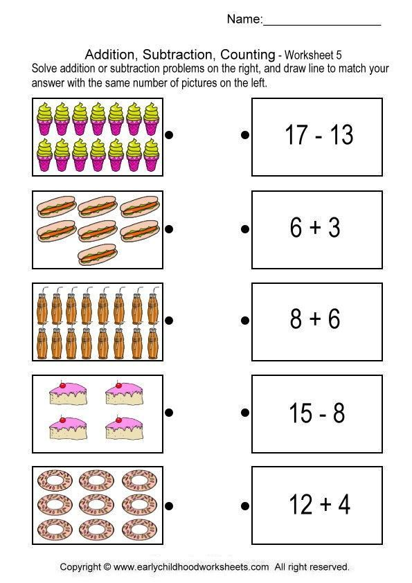 Addition Subtraction Counting Worksheet Dengan Gambar Anak