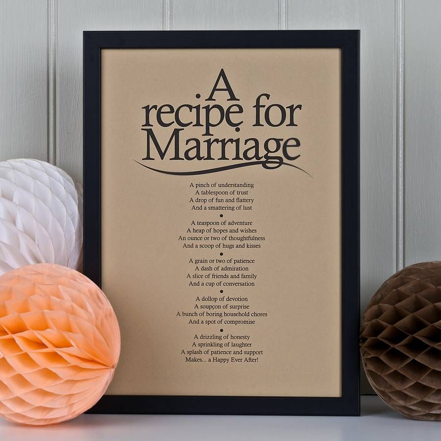 Poem For Wedding Gifts: Personalised Marriage Print With Marriage Poem