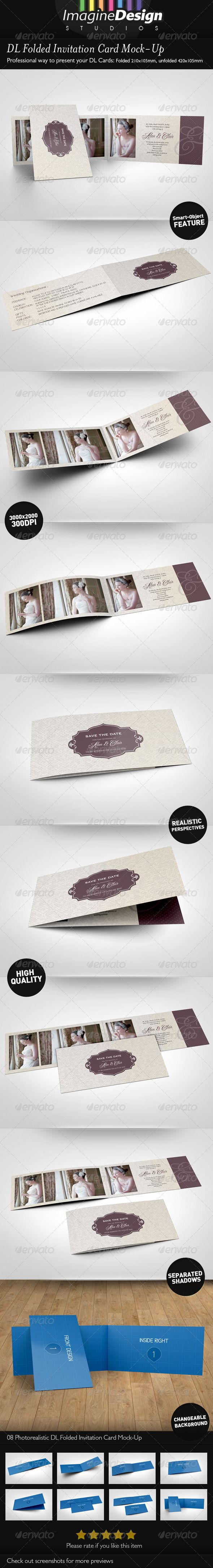 DL Folded Invitation Card MockUp Mockup Wedding invitation card