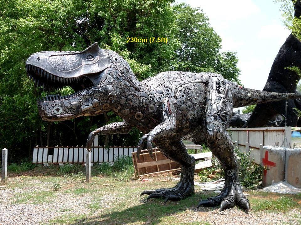 dinosaur t rex sculpture statue replica life size scrap metal art