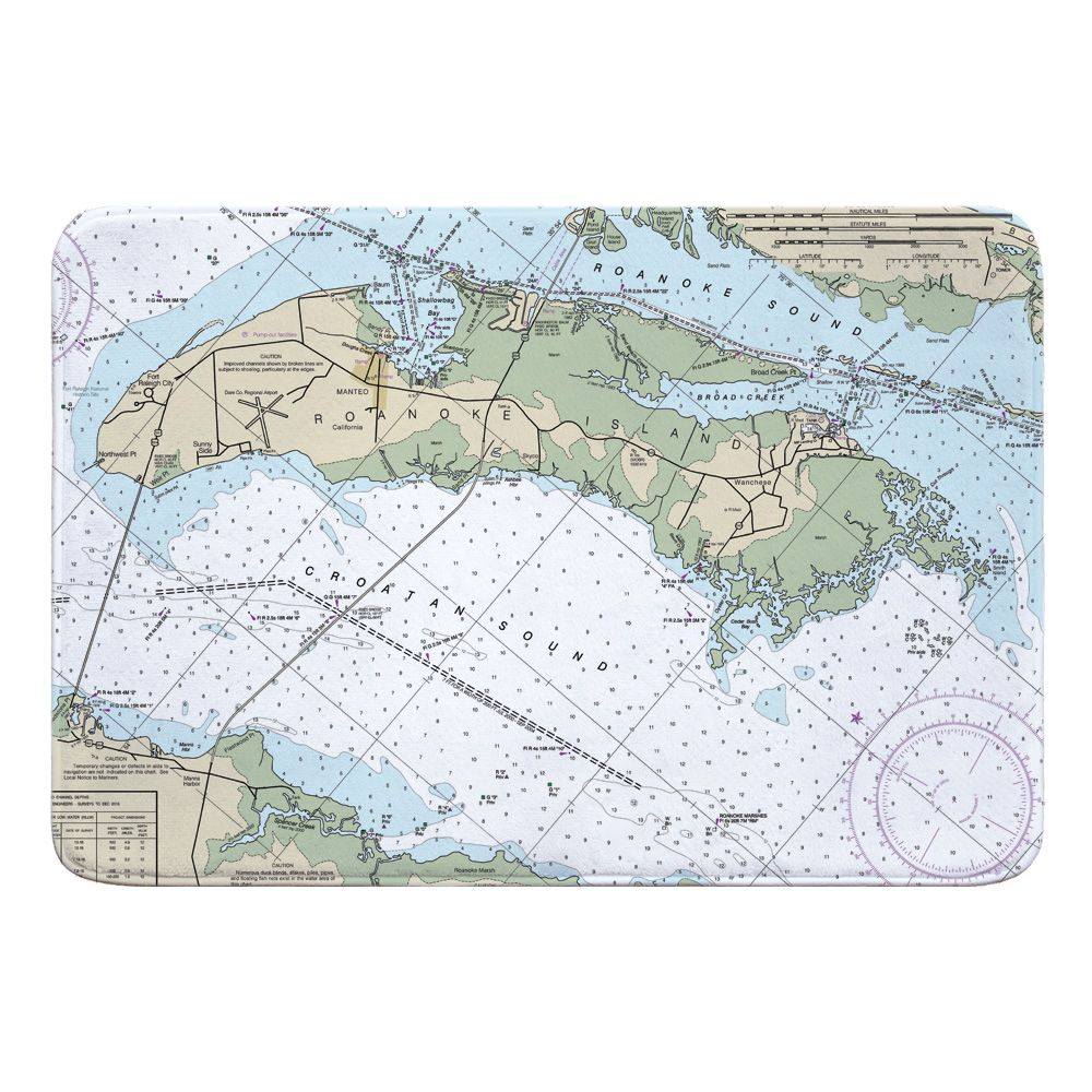 Nc Roanoke Island Nc Nautical Chart Memory Foam Bath Mat Memory Foam Bath Rugs Memory Foam Bath Mats Bath Rug