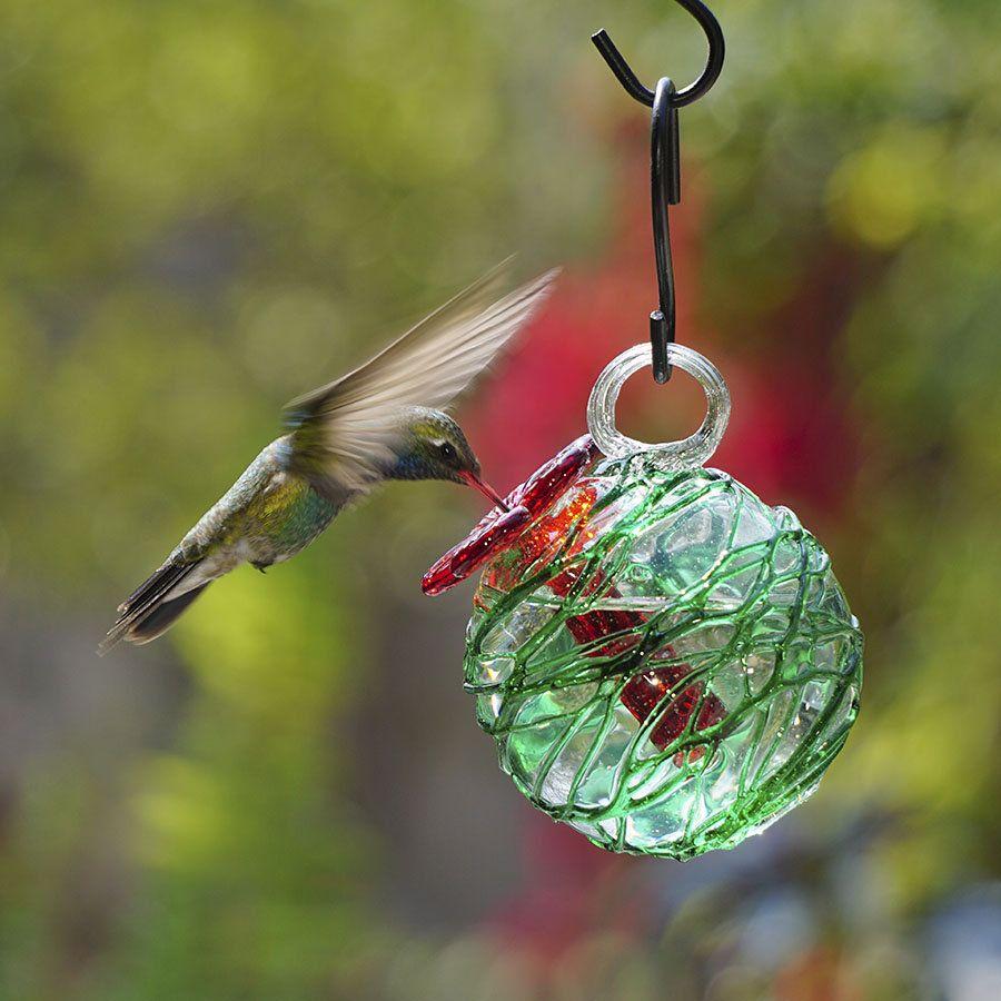 Green Sugar Spun Pearl Drop Hummingbird Feeder Humming