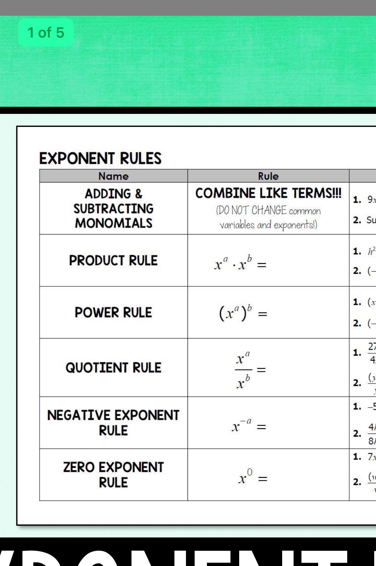 Pin by Lisa Blatt on Math projects Negative exponent