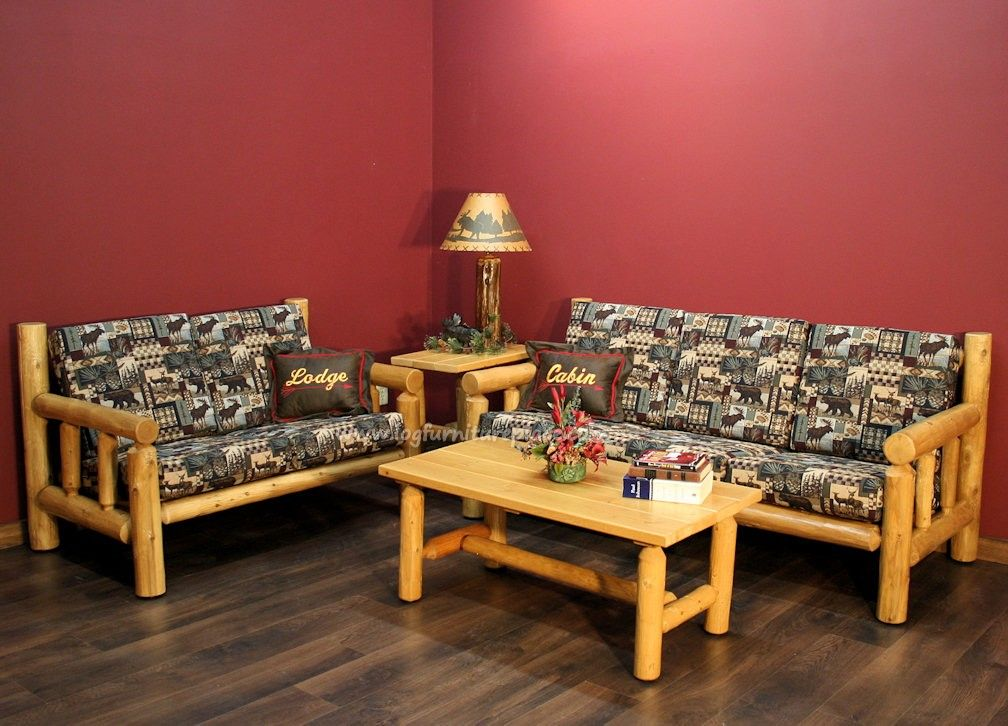 Cedar Log Living Room Example Rustic Log Furniture Made in the