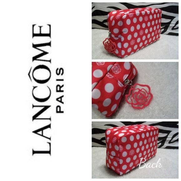"""Cherry Red Polka Dot Design Cosmetic Bag NWOT! Made by: Lancôme  Fully Lined. Measurements: 5""""Tall x 8""""Wide x 3""""Thick. 12"""" Zipper with Plastic Logo Pull. Never Used. Thank you for browsing my Closet.  Please see Poster for Special Sale on $10 items Bundled Thank you!! Lancome Bags Cosmetic Bags & Cases"""