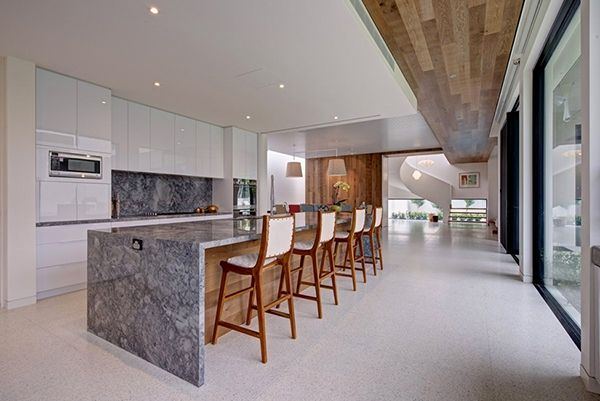 interior, Kitchen Design Ideas White Kitchen Cabinet Cream Flooring Marble Table Tops Wooden Wall Pendant Lamp Dining Chairs Dining Room Design Ideas Large Sliding Glass Door White Wall Kitchen Details: Stunning Modern Interior Designed Inspired by Serenity in Australia