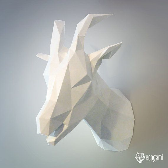 3d Printable Papercraft Goat Trophy Perfect For Your Wall