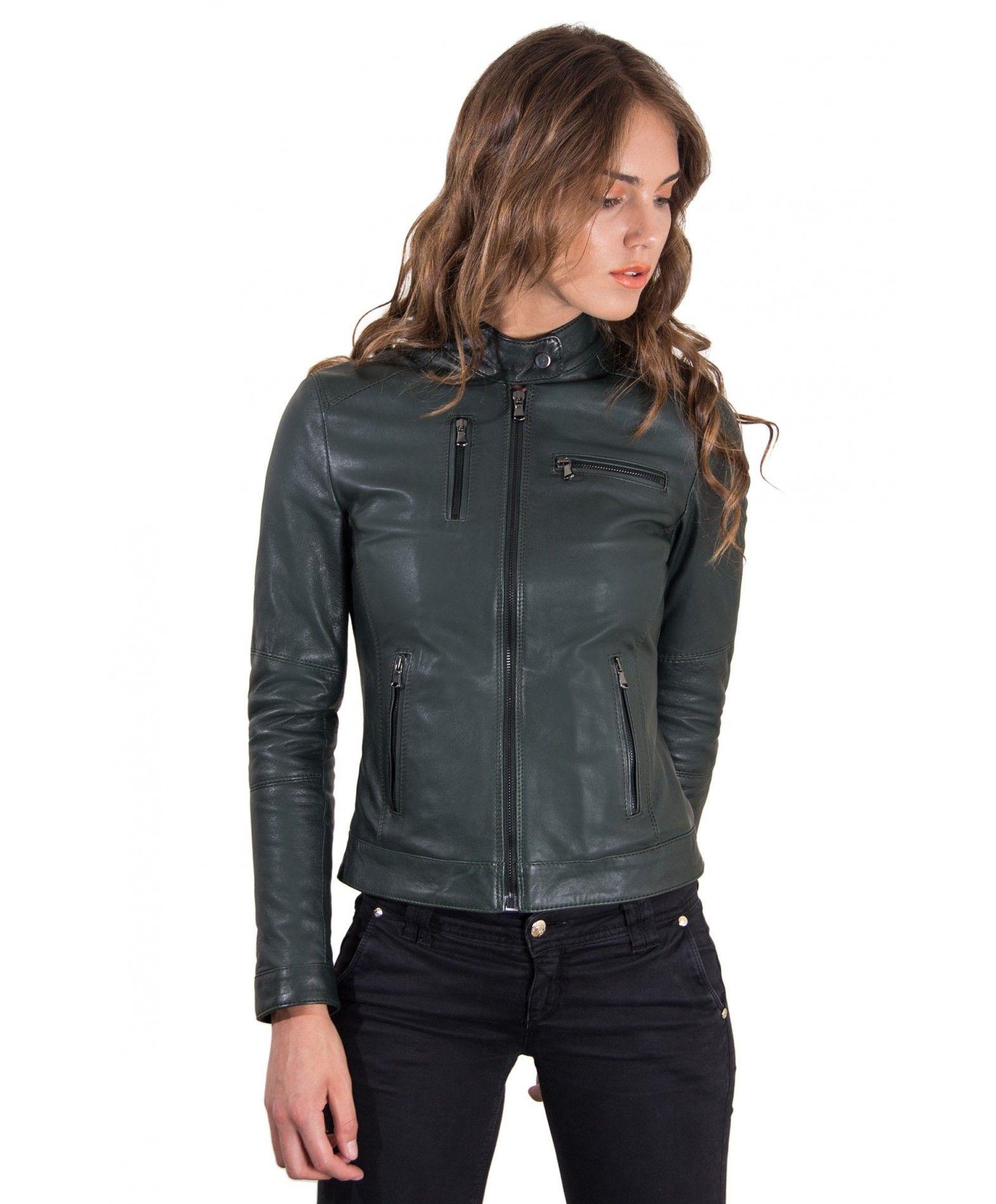 79def03f1d56e4 GIULIA • colore verde • giacca biker in pelle bogotà effetto vintage ...