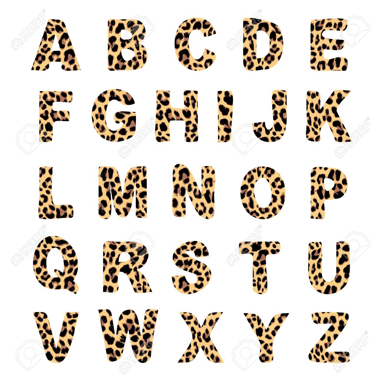 Trendy Alphabet Set, Leopard Pattern Design, Vector