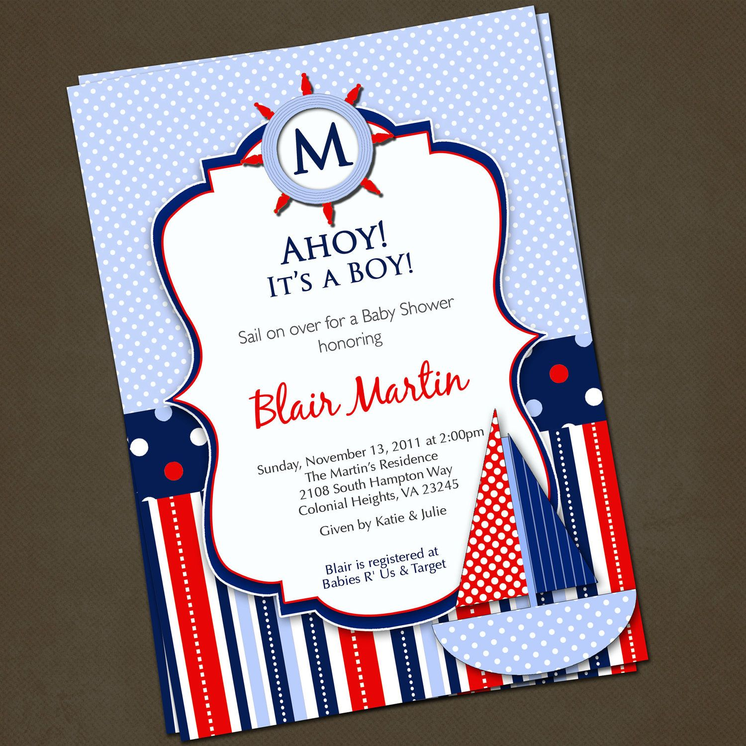 Baby Shower Invitations: Ahoy It\'s A Boy Nautical Baby Shower ...