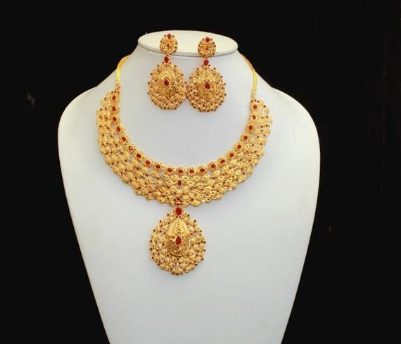 0a4f0ecf174f8 22kt Gold Plated Dubai Style Necklace Set / Designer Red Stone ...