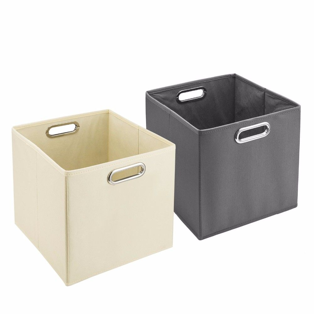 Cloth Storage Bins,Set Of 6 Nonwoven Foldable Collapsible Organizers Basket  Cubes With Dual Plastic