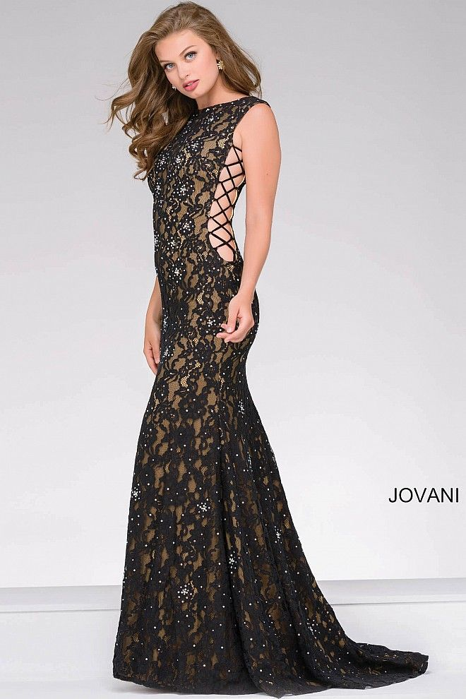 Form fitting floor length black lace over nude lining sleeveless ...