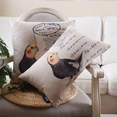 set van 2 vogel patroon katoen / linnen decoratieve kussensloop – EUR € 25.45