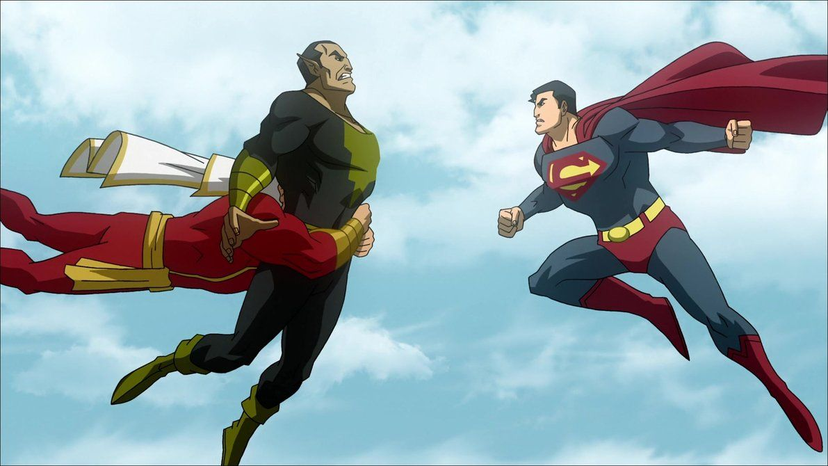 Black Adam Vs Captain Marvel And Superman