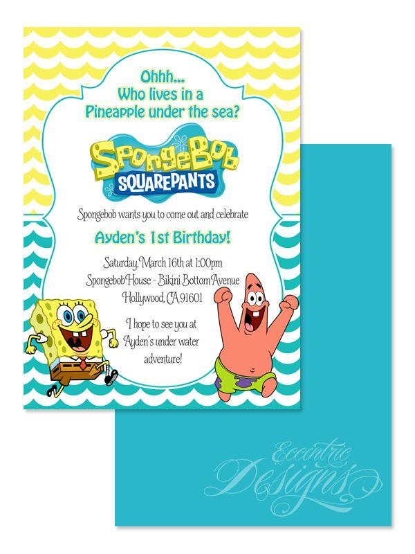 Spongebob Squarepants Digital Birthday Invitation invitation s