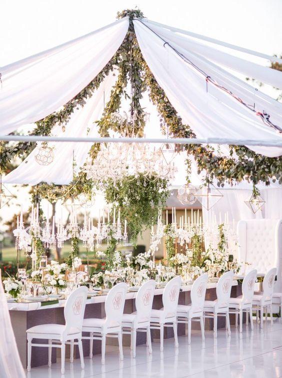 green garden inspired white tent wedding reception - Green Canopy Decoration