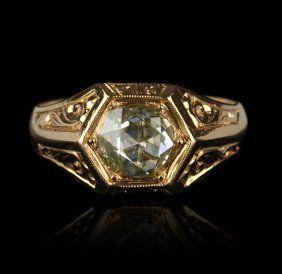 $1,400    Feb 9 2013 18KT Rose Gold 0.85ct Rose Cut Diamond Band Ring GB735