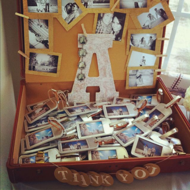 Idea: Travel Themed bridal shower. Here i used vintage suitcase from goodwill for $5. Printed the bride to be's engagement photos and used them to decorate. I then place the thank you gifts/giveaways (luggage tags) inside the luggage at the party. I also bought a wooden letter A from Michaels and glued vintage world map all over it to stick to the theme.