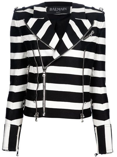 BALMAIN Striped Biker Jacket for over $3500. Exposed zippers are so in this season, whether or not they are functional or just for show. This very technique was featured in the Fall 2012 issue of SewStylish.