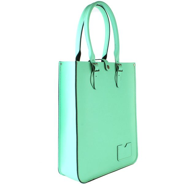 Large Tote Bag crafted from Fresh Mint Leather ($210) ❤ liked on Polyvore featuring bags, handbags, tote bags, handbags totes, mint green tote bag, leather tote bags, leather handbag tote and green tote bag