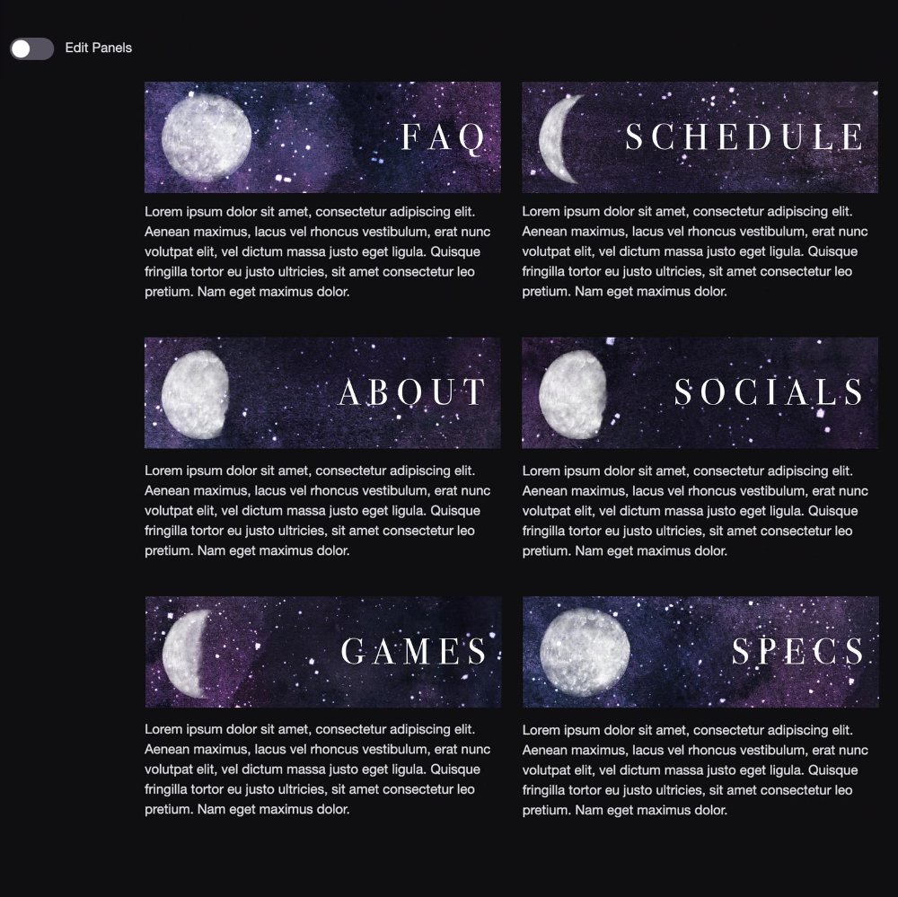 Twitch Channel Panels Starry Night Theme Instant