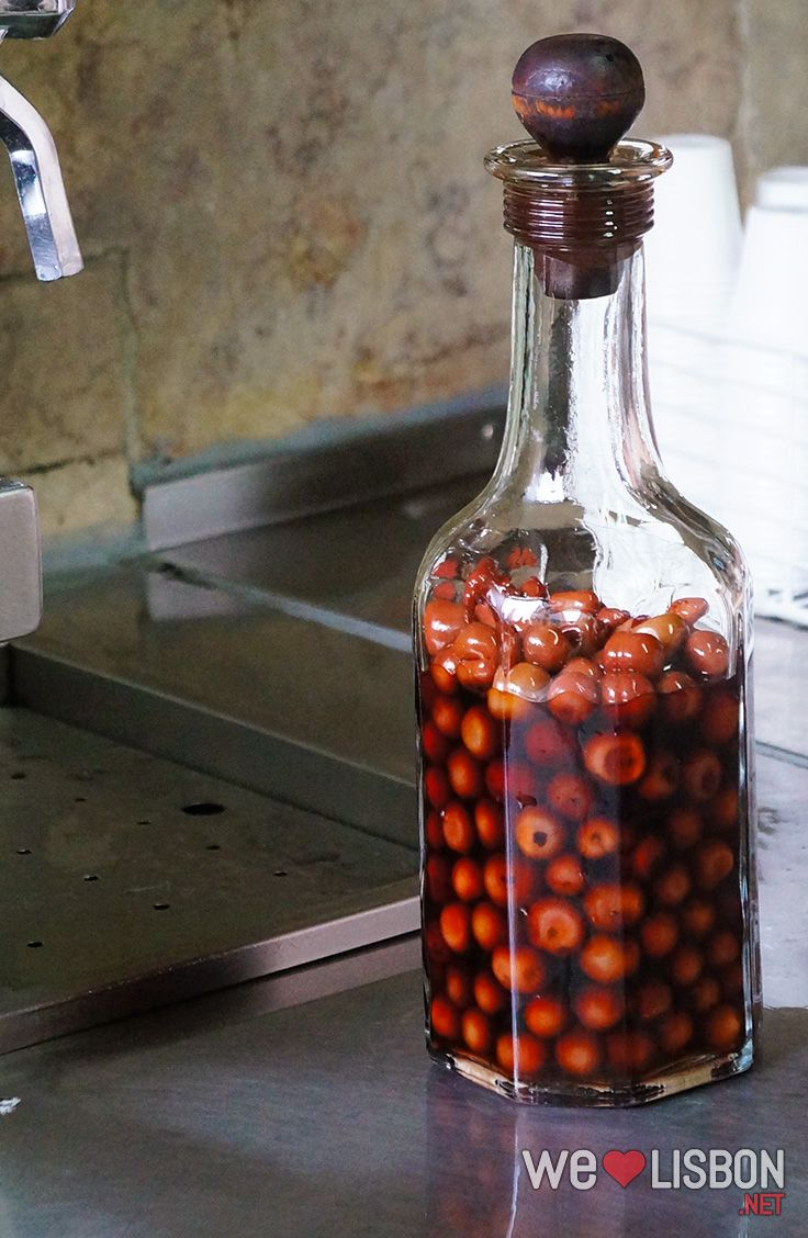 Ginjinha Bottle Lisbon Most Famous Drink Made With A Sour Cherry Portuguese Recipes Famous Drinks Lisbon