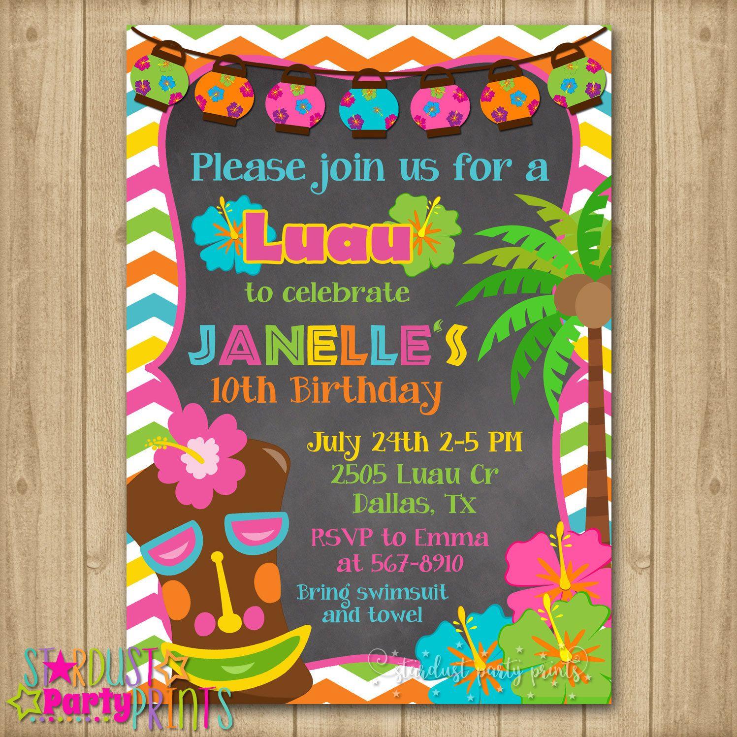 Paradise Cove Summer Luau Flip Flop Beach Theme Party Invitations w//Envelopes