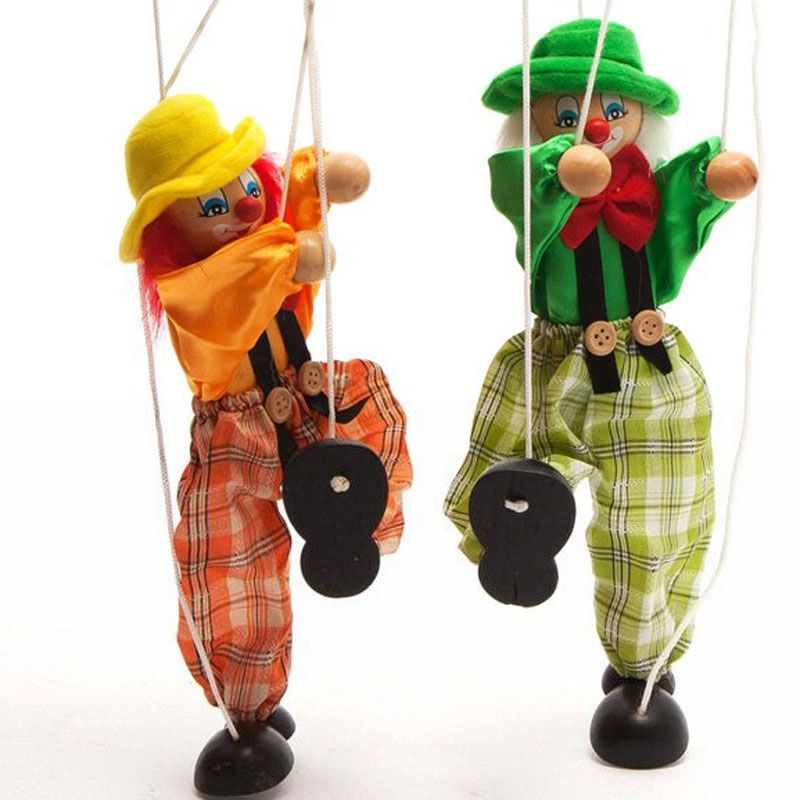 Chilren Shadow Hand Puppet With Rope Birthday Gifts For Baby Wood And Cloth Puppets Kids Clown Parent-child Interactive Toys