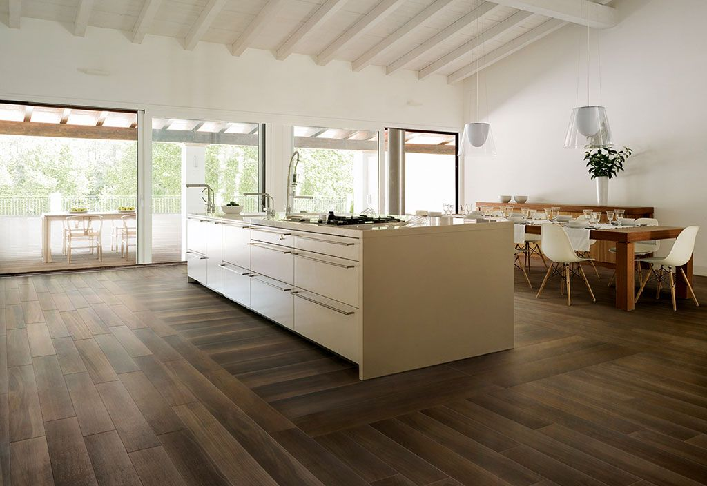 Porcelain stoneware with natural wood effect life flooring