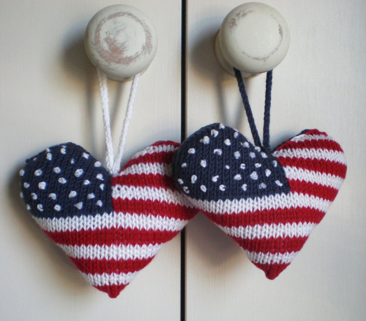 HAPPY 4TH OF JULY!! Stars and Stripes US Flag knitted heart ...