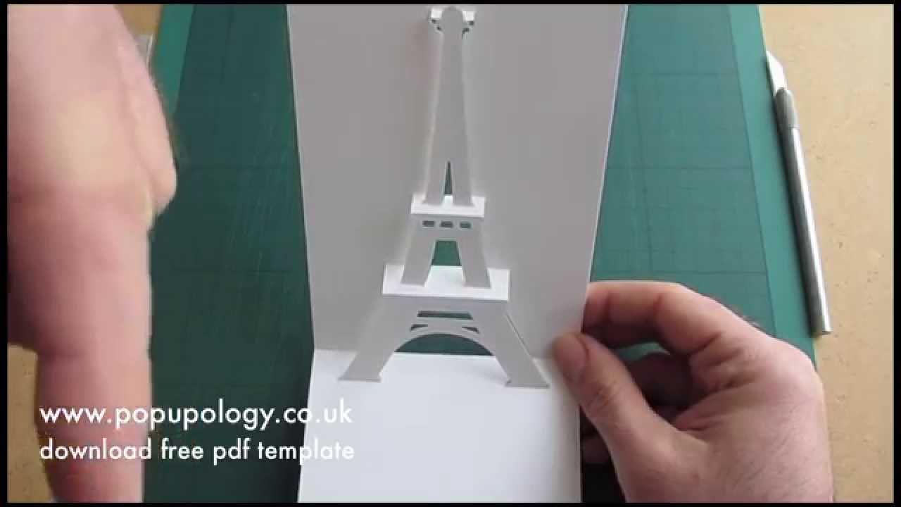 Pop Up Eiffel Tower Card Tutorial Origamic Architecture Kirigami Plantillas Torre Eiffel Kirigami